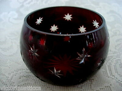 Impressive Ruby Red / Crystal Stars Cut-to-Clear Rose Bowl / Votive / Tealight