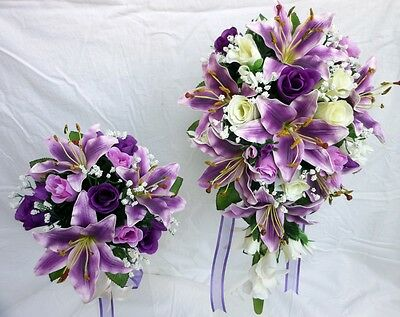 Wedding Bouquet Package, Purple lillies, Ivory, purple roses   x 2 Bouquets