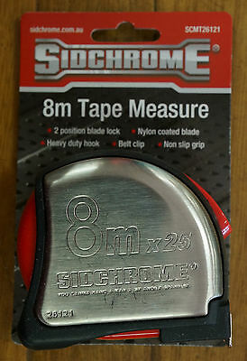 Sidchrome Tape Measure Stainless Steel Body 8m Metric