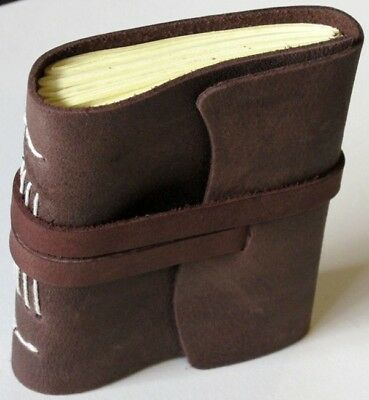 Rugged Leather Pocket Journal Diary Handmade Paper 3x4