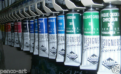Gouache Daler Rowney 15ml tubes list 2 also see lists 1 & 3 blue to green