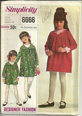 Vintage SIMPLICITY Childs Girls 6 PATTERN 6666 One Piece Dress