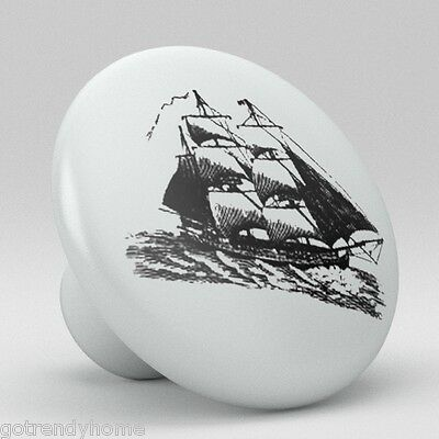 Old Boat ocean Ship Sailing Ceramic Knobs Pulls Drawer Cabinet Vanity Closet 918