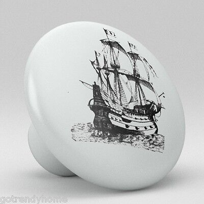 Old Boat ocean Ship Sailing Ceramic Knobs Pulls Drawer Cabinet Vanity Closet 917