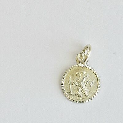 TINY ST CHRISTOPHER MEDAL 9mm STERLING SILVER VERY DISCRETE CARRY ANYWHERE NEW