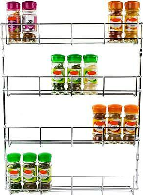 Andrew James 4 Tier Spice / Herb Rack Wall Mountable or Kitchen Cupboard Storage