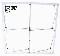 5' ft Fabric Pop Up Trade Show Display Frame Package - Straight Single Side