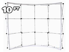 10 ft Fabric Pop Up Trade Show Display Frame Package - Curved Single Side