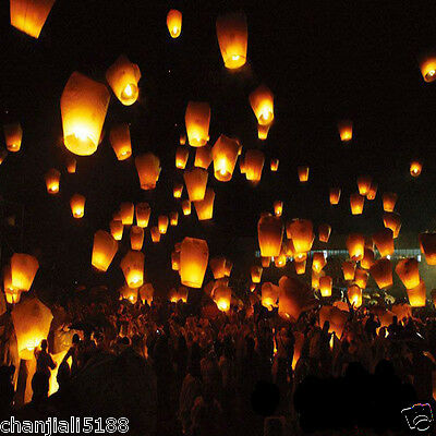 free 20PCS FIRE SKY CHINESE LANTERNS BIRTHDAY WEDDING PARTY 9colors PW#005
