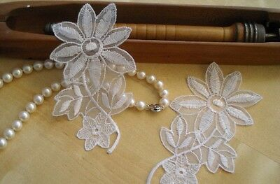 24 pieces embroidered organza lace flower motif applique white