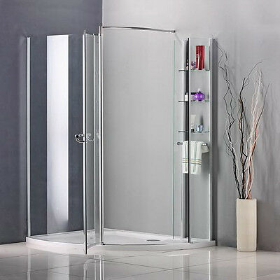 1250 x 950mm Walk In Pivot Shower Enclosure Door Cubicle Stone Tray A90