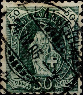 "SWITZERLAND 1905-1906    50 C.  Allegoria dell'""Helvetia"" in piedi   Very"
