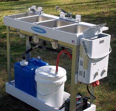 Portable Sink Mobile Concession 3 Compartment Hot Water Large Basin Hand Washing