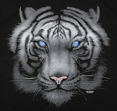 Majestic White Tiger T-Shirt Black Big Animal Print BABA