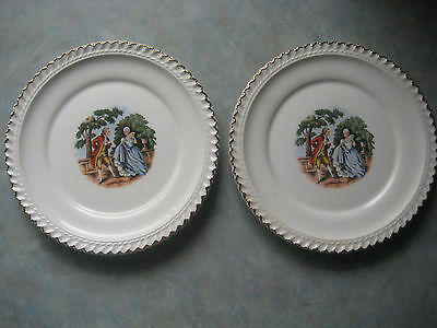 Godey Prints By Harker Pottery 22kt Gold Trim Bread & Butter Plates 1950-60 Qty2