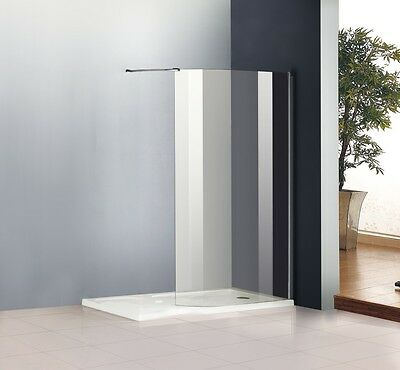 1400 x 800mm Walk In Shower Enclosure Wet Room Shower Screen Glass+Stone Tray R
