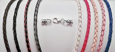 """3mm Braided Sterling Silver Leather Bolo Necklace u pick length 21 thru 30 """""""