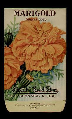 1918 Marigold Gold Flower Litho Seed Packet Everitt's Seed, Indianapolis,ind