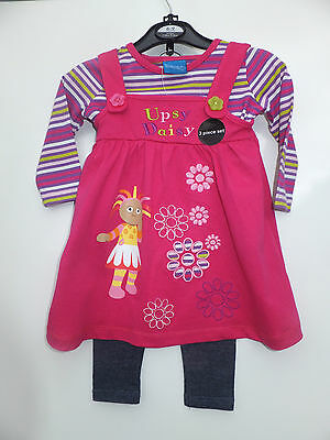 NEW UPSY DAISY GIRLS PINAFORE DRESS with T-Shirt & Leggings ages  9mts - 4yrs