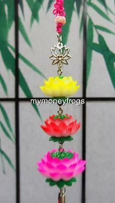 "8""L Feng Shui Oriental Chinese Buddhist LOTUS FLOWER Car Door Tassel Charm NEW"