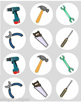 12 Tools Handyman Themed Cupcake Decoration Edible Cake Toppers Pre Cut 40mm