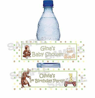 MONKEY CURIOUS GEORGE 1ST Birthday Party BABY SHOWER water bottle label wrapper
