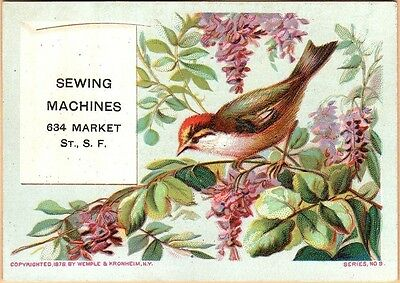 Victorian Trade Card-Sewing Machine Headquarters-San Francisco, CA-Bird-Flowers