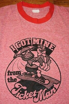 XS * vtg 70s TICKET MAN 2 sided heather red RINGER t shirt * MAYO SPRUCE 9.37