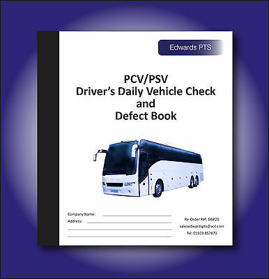Driver's Daily Vehicle Check & Defect Book-PCV/PSV Bus & Coach-20 Part Duplicate