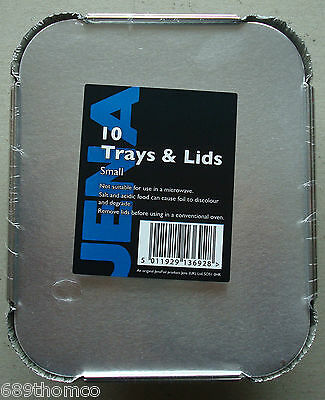 Takeaway Tray & Lids Chinese/ Indian x 10 Foil Containers Small Catering