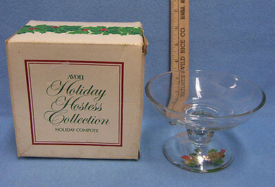 Avon Vintage Clear Glass Holiday Compote in Box Holly Serving Pedestal Bowl1981