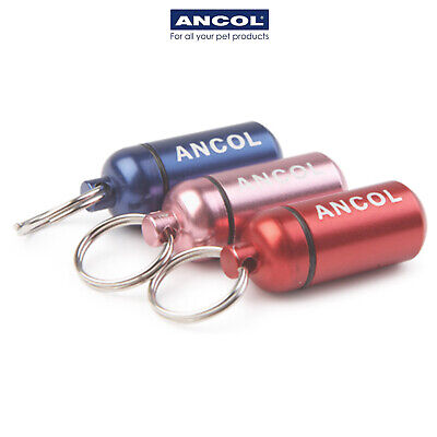 NEW Aluminium Dog Puppy ID Tube Tag Capsule Barrel Ancol JTB