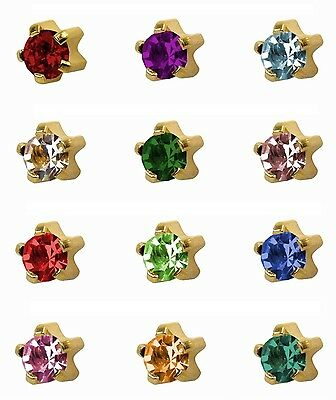 Studex Ear Piercing Large Gold Plated Stud Earrings 5mm Claw Setting Birthstones