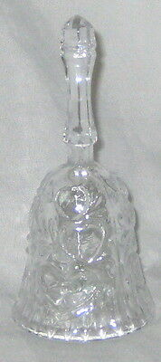 """Clear 5"""" Glass Bell w Heart Embelishments"""