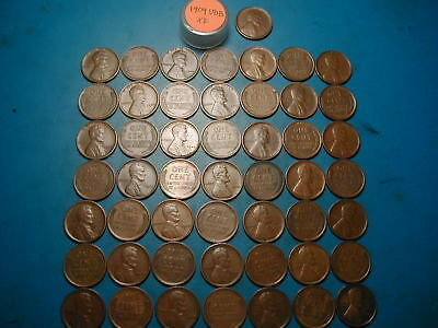 1909-VDB LINCOLN WHEAT CENT PENNY ROLL, 50 coins All XF, Very Nice!