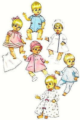 """7931 Vintage Doll Clothes Pattern ~ 9"""" or 12"""" ~ Outfits for Baby Boy & Girl Doll"""