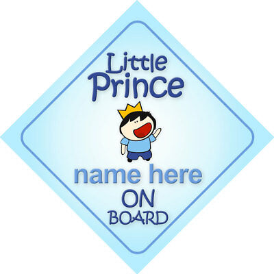 Little Prince On Board Personalized Child Car Sign/Baby Shower Gift Boy
