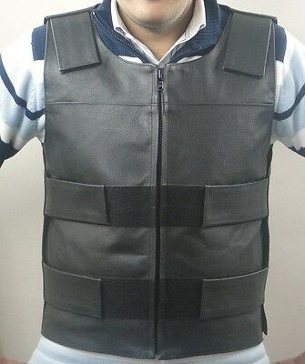 Men's Leather Zipper Bullet Proof Style Motorcycle Biker Vest All Sizes