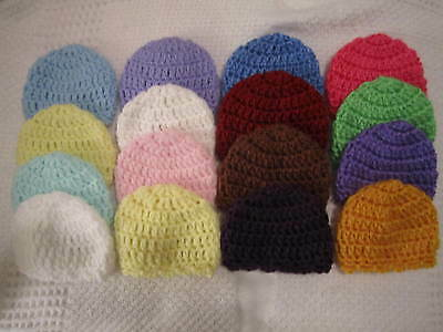 4-CROCHETED HOSPITAL HATS FOR MICRO PREEMIE*OOAK BABY OR REBORN DOLL DOLLS
