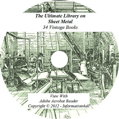 34 Books on CD, Ultimate Library on Sheet Metal, Metalwork Pattern Drafting