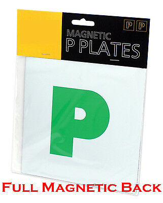 Magnetic Passed Pass Green P Driver Plate Plates for Car Vehicle x 2 (1 Pair)