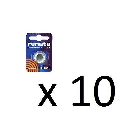 Renata Swiss Made Lithium CR1616 Cell Coin Button Battery 3V Tag Watch Key x 10