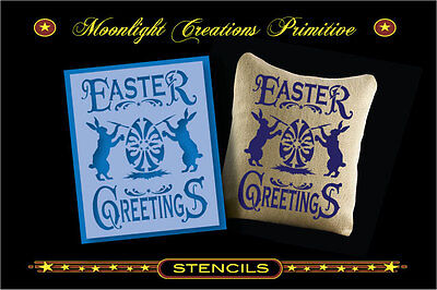 Primitive Stencil~EASTER GREETINGS~Rabbits Coloring Easter Eggs Vintage Style