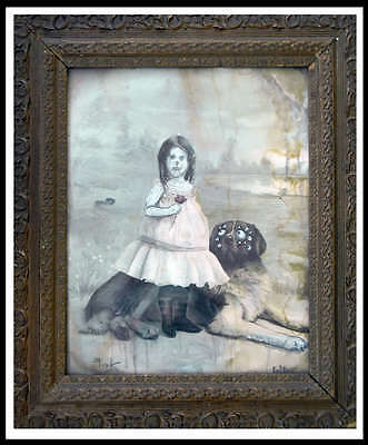 GUS FINK Art ORIGINAL Painting lowbrow Antique folk Horror Goth EMI AND HER DOG