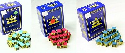 TRIANGLE Cue Tip Chalk for Snooker / Pool Tables in GREEN, RED, BLUE or MIXED