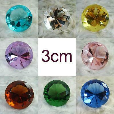 Crystal Glass Paperweight Diamond Shaped Gem Display 3cm (Choose Color)