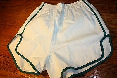 S * NOS vtg 70s/80s sanforized SHORT SHORTS green * GYM jogging TRACK p.e. * WG5
