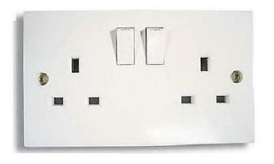 50X Twin Double Switched Socket White 13amp Plug 2 Gang