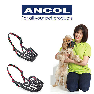 Ancol Black Plastic Basket Dog Muzzle All Sizes Training Obedience