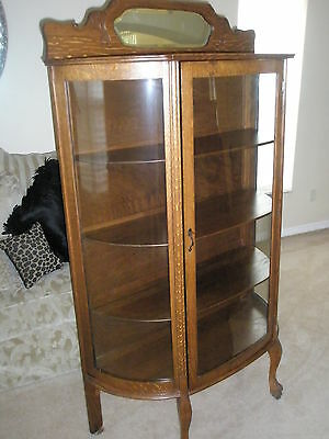 ANTIQUE Larkin Co Oak China Cabinet Curved Glass Backsplash W/Beveled Mirror